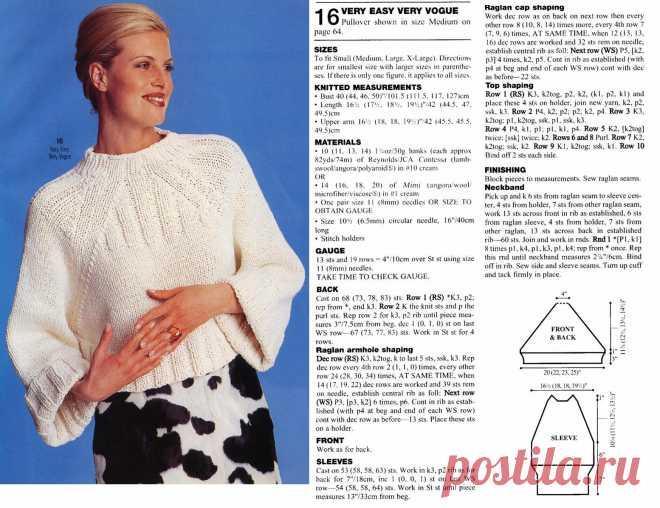 Вязание спицы свитер реглан схема