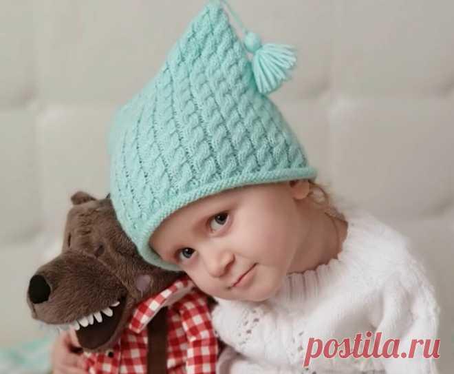 Простая детская шапка с косами. Как связать шапку?   Факультет рукоделия   Яндекс Дзен