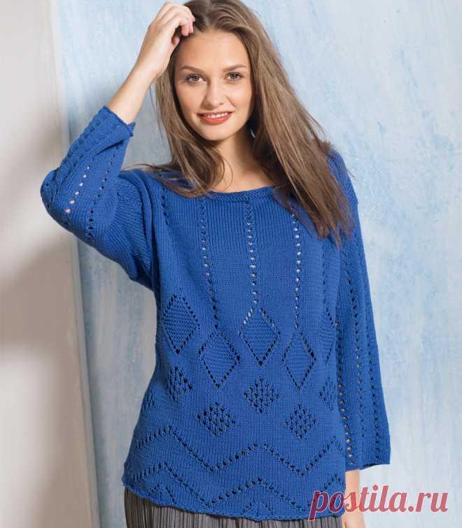 Синий ажурный джемпер - схема вязания спицами. Вяжем Джемперы на Verena.ru