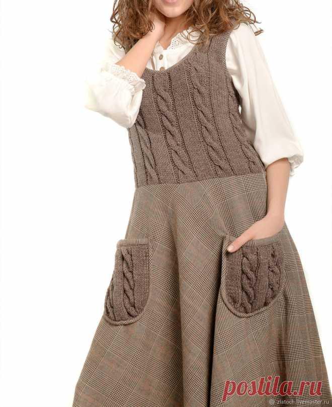 2629860524e Сарафан  Стелла  ручное вязание+ткань – купить в интернет-магазине ...