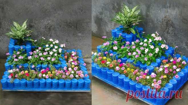 Создание красивых террасных цветочных горшков из пластиковых бутылок