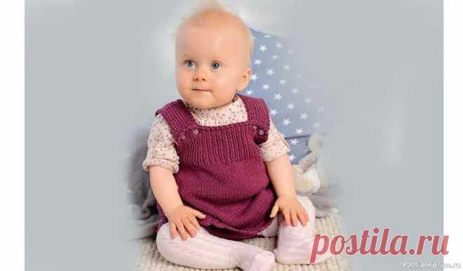 Платье и штанишки для девочки | Вязание спицами для детей Платье с бретелями и короткие штанишки можно носить круглый год. Комплект выполнен лицевой гладью, край платья обвязан крючком узором «ракушки».Вязание для девочки 6-12 месяцев, описание и выкройка.РАЗМЕРЫ:62-68 (74-80) 92-98ВАМ ПОТРЕБУЕТСЯ:пряжа (75% хлопка, 25% вискозы: 125 и/50 г) -...