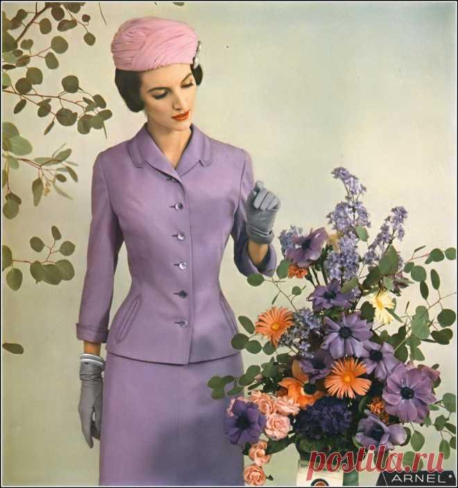 Joan Romano in Spring suit of Arnel by Handmacher, Vogue, March 1, 1957