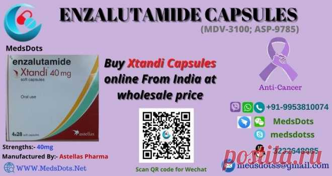Xtandi is a nonsteroidal anti-androgen (NSAA), an anti-cancer medicine used in the treatment of prostate cancer and many other cancer cases in conjunction with other drug salts. It is developed and sold by Astellas pharma and has Enzalutamide as its active drug salt in the strength of 40 mg for oral use. MedsDots, a true Indian pharmacy, is a wholesale provider of Xtandi that offers you to buy Enzalutamide 40mg capsules from MedsDots and get them delivered to your doorstep anywhere in the world.