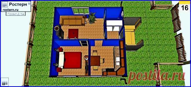 Проект деревянного дома 40 м2 Д-154 - Ростерн