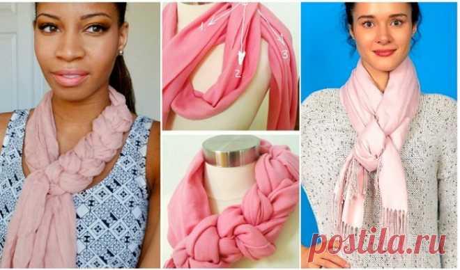 Las fotoinstrucciones evidentes, como hermosamente atar la bufanda, el pañuelo y las palatinas (17 fotos)