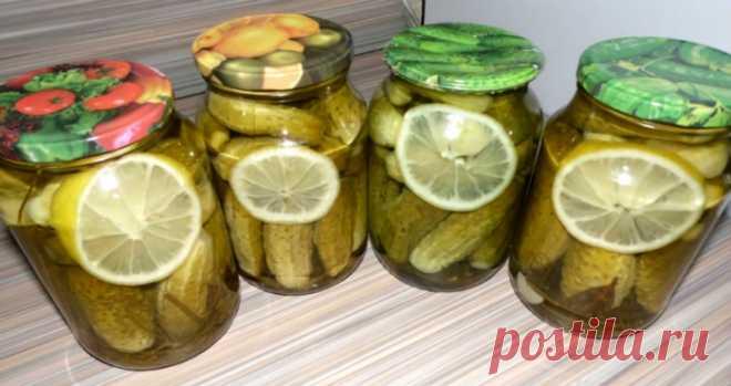 Los pepinillos marinados con el limón: ¡comes el pepinillo y con la salmura tomas — vkusnyatina! Los ingredientes a 1 lata de un litro:\u000aLos pequeños pepinillos (entrará cuanto en el banco)\u000a\u000a\u000a\u000a1 círculo del limón\u000a\u000a4 dientes del ajo\u000a\u000a2 vetochki del hinojo\u000a\u000a2 hojas de laurel\u000a\u000a1 yema del clavel\u000a\u000a0.5 h de la cuchara del grano de mostaza …