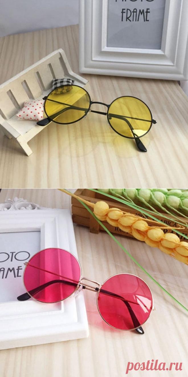 b653167b38d7 Круглые очки от солнца с металлической оправой и цветной выпуклой линзой (в  наличии желтые,