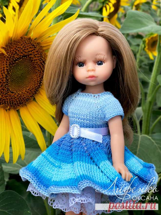 Платье спицами для кукол Мини Подружки Паола Рейна 21 см @ Оксана Лифенко