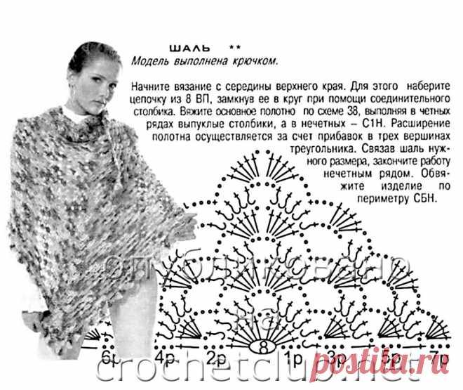 как связать красивый платок крючком