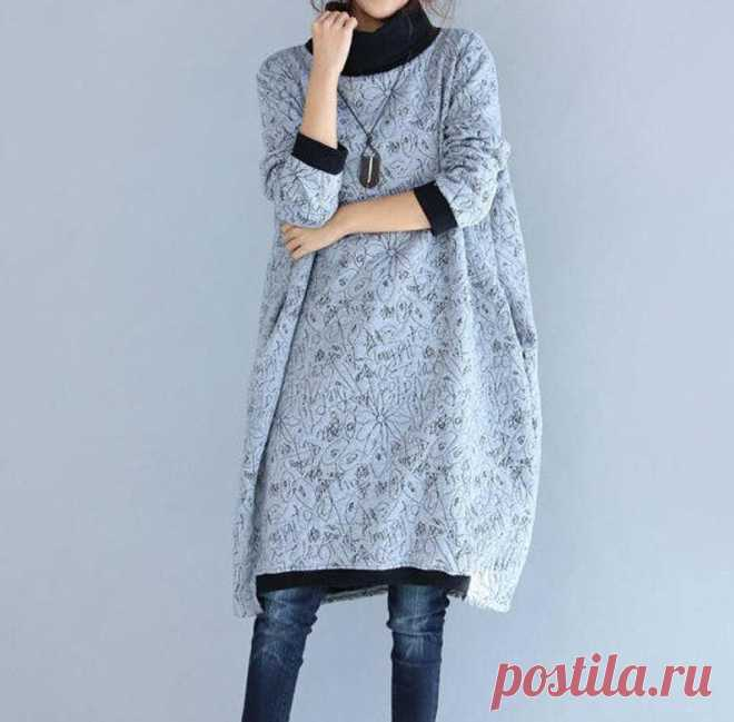 Gray high collar dress Large size Bottom dress Casual | Etsy