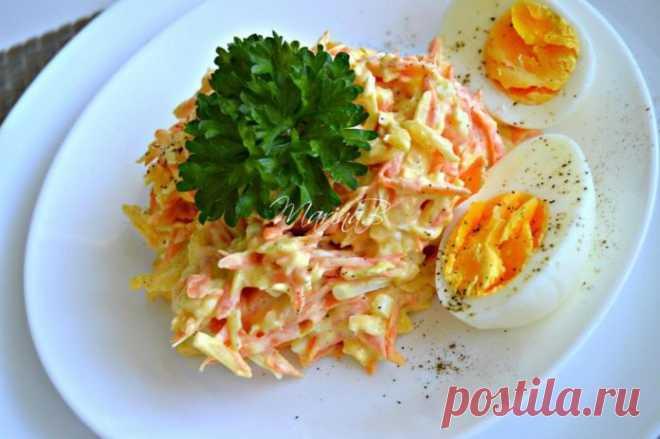 Французский салат с морковью и сыром — готовьте побольше    Вкусно и полезно!          Ингредиенты в произвольном кол-ве. морковь — 4 средних штукияйца, сваренные вкрутую — 4 штукитвердый сыр — 200 граммчеснок — 2 зубчика. Приготовление:  Все ингредиенты …