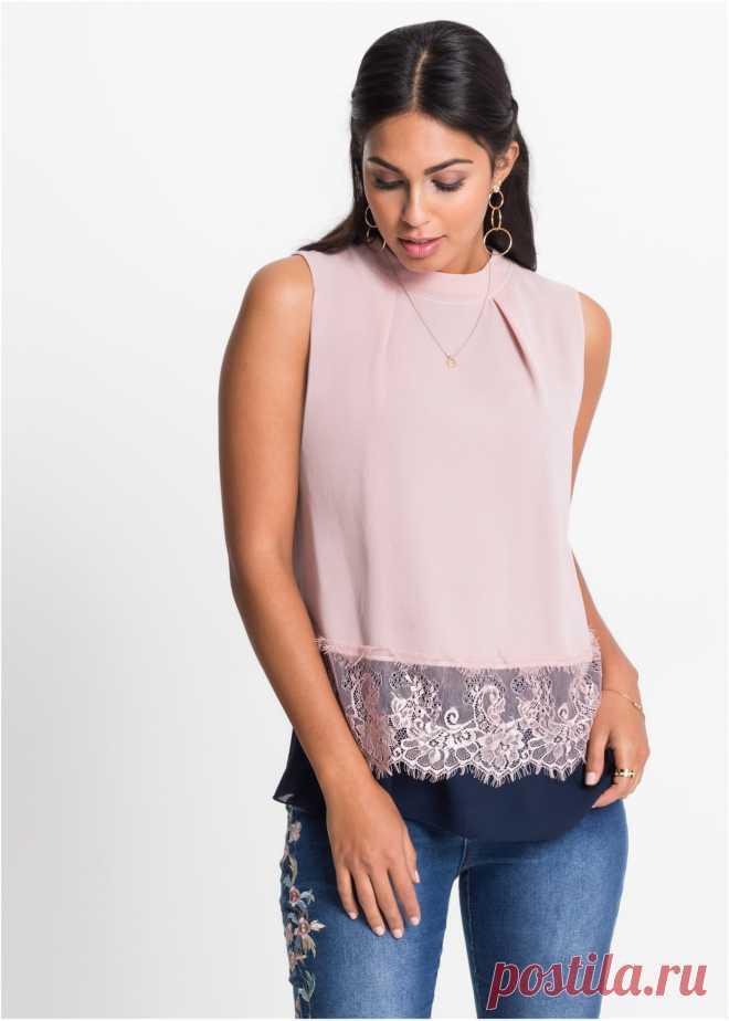 Блузка с кружевной отделкой розовый/темно-синий - BODYFLIRT - bonprix.ru