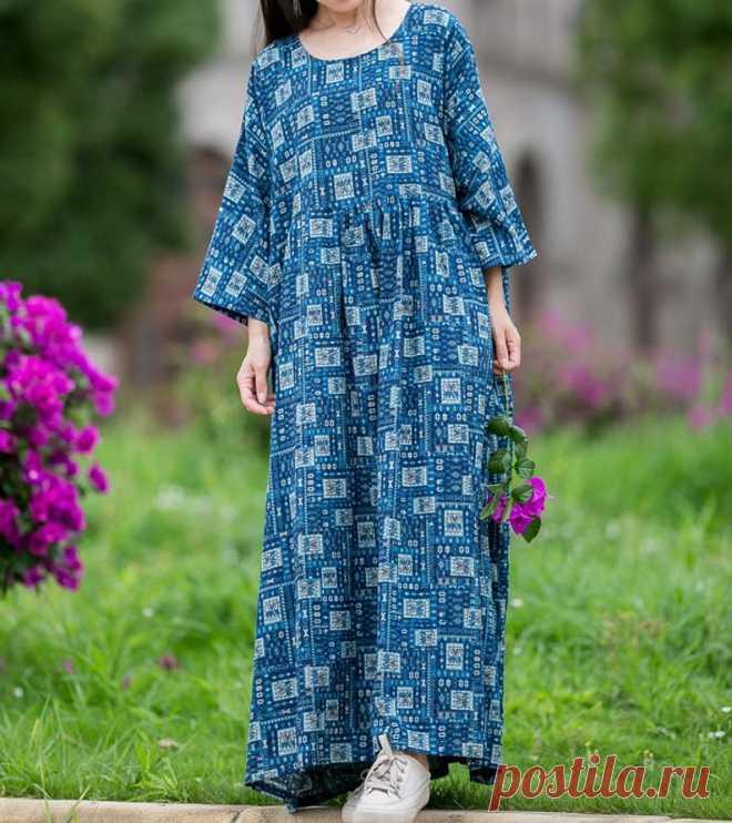 Women's plus size Dresses summer dress blue long dress | Etsy