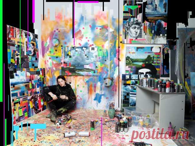 Lebedef Art Художник Lebedef в процессе работы и подготовки к своей выставке.