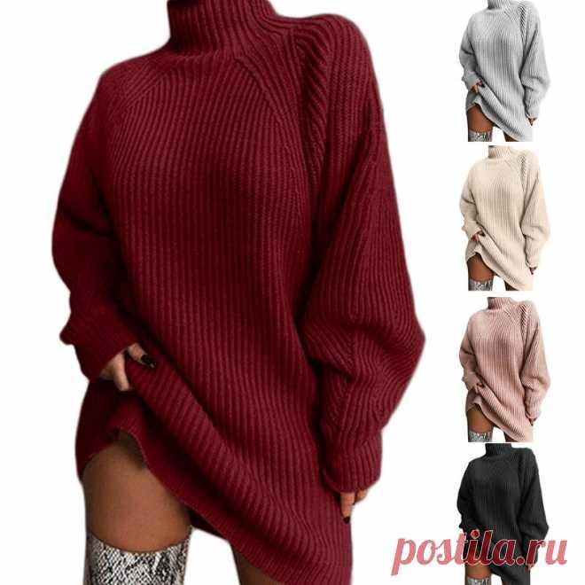 Женское платье свитер средней длины с рукавом реглан и высоким воротником, вязаный однотонный свободный джемпер   Водолазки   Детские жаккарды  роспись по ткани   готовые выкройки  