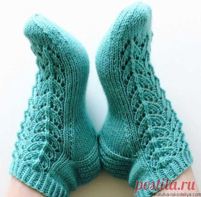 ажурные носки спицами схема вязание кружевных носков шкатулка