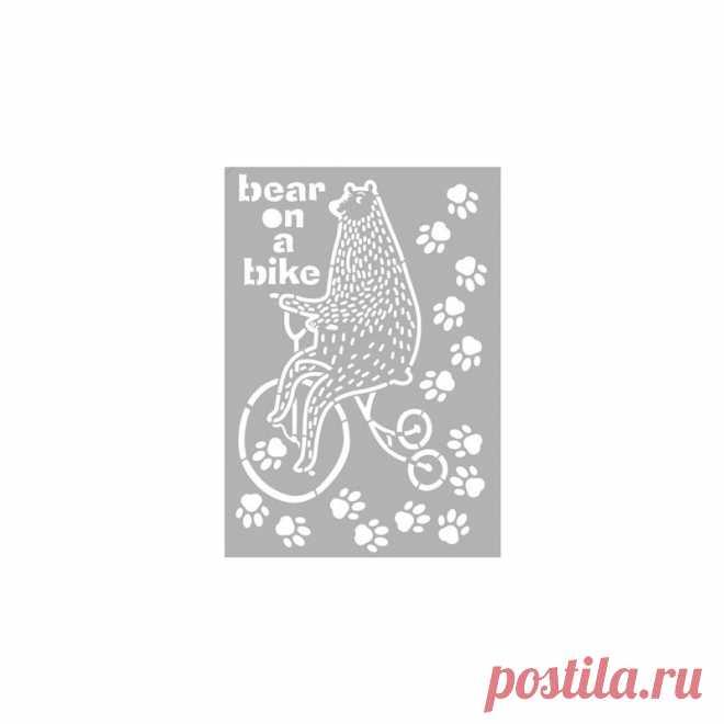Mask Stencil Designs, zelfklevend Bear on bike