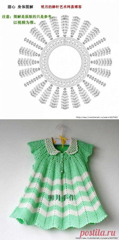 детское платье с круглой кокеткой и воротничком крючок деткам