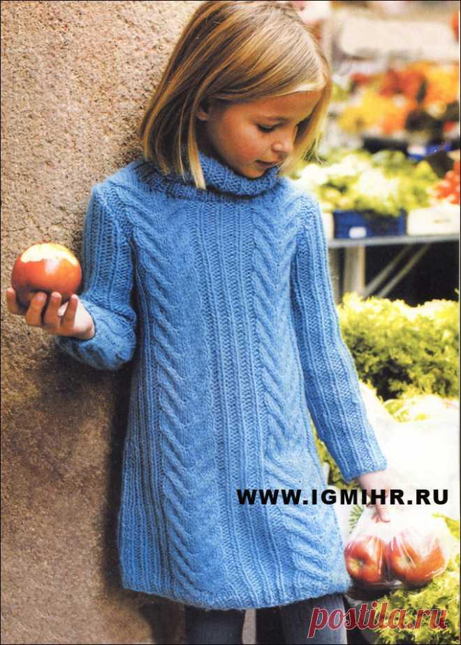 Красиво и тепло! Синее платье для девочки 6-12 лет. Спицы