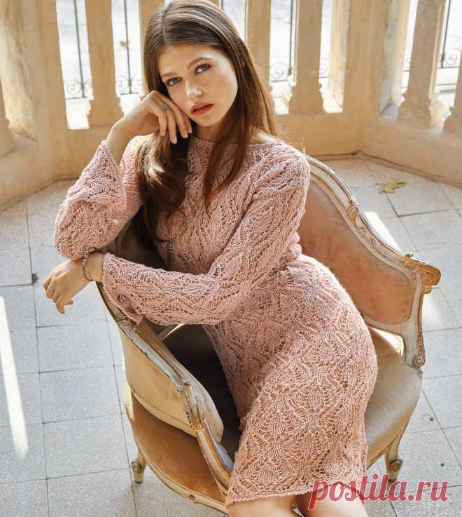 Ажурное платье-футляр - схема вязания спицами. Вяжем Платья на Verena.ru