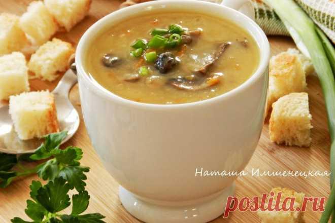 Густой и ароматный гороховый суп с грибами