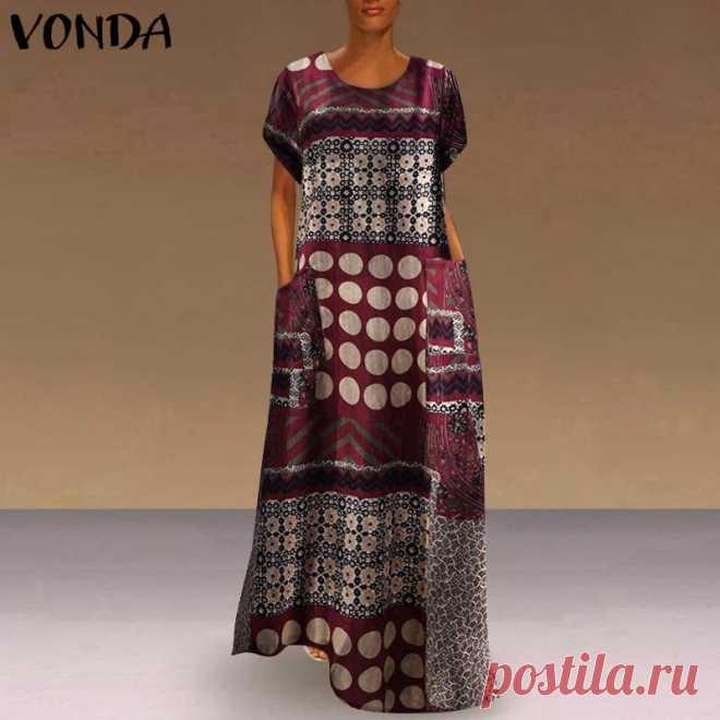 971.62руб. 39% СКИДКА|Модное осеннее платье VONDA, женские платья с круглым вырезом, лоскутный сарафан, повседневное винтажное платье с принтом, платье из хлопка и льна, сарафаны|Платья|   | АлиЭкспресс Покупай умнее, живи веселее! Aliexpress.com