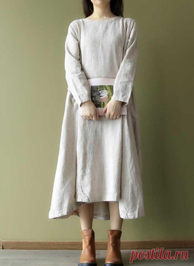 Womens Linen longsleeves dress Tunic dresses Linen color | Etsy