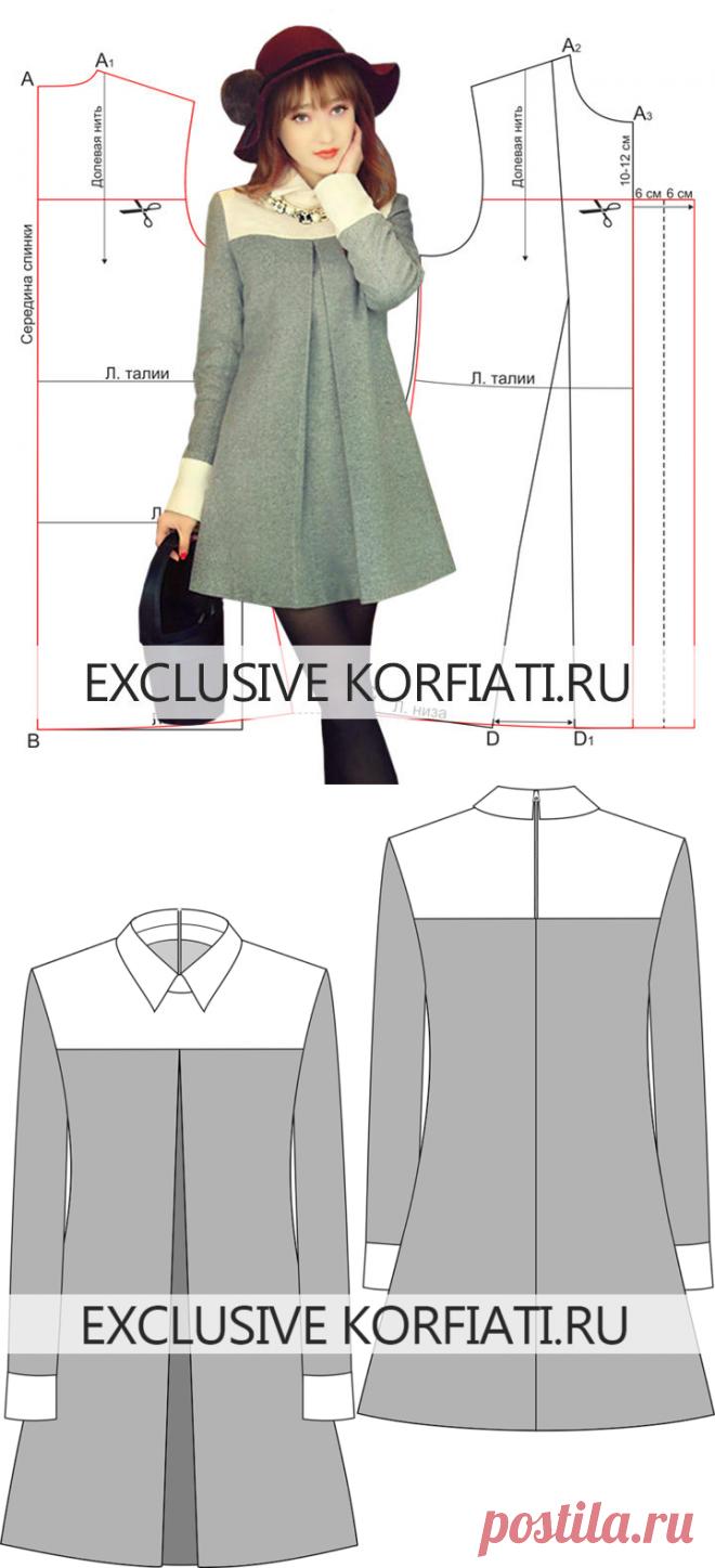 Выкройка платья со встречной складкой от Школы шитья А. Корфиати