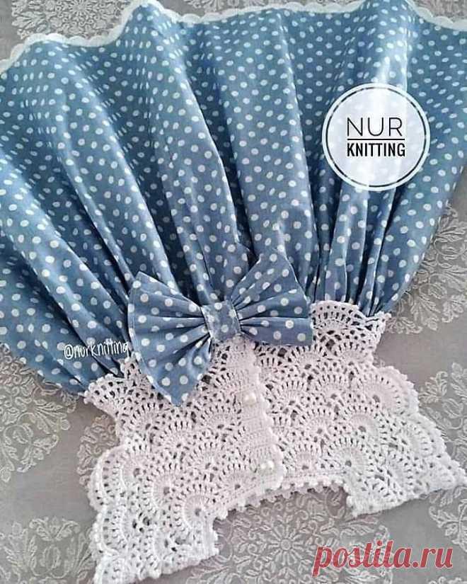 Детское платье. Ткань+вязание.