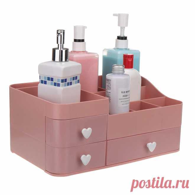 34x22x15cm plastic cosmetic organizer makeup case holder drawers jewelry storage home desk storage supplies Sale - Banggood.com