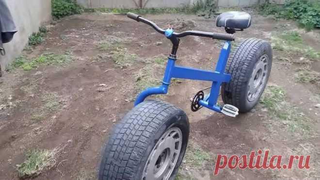 Крутой велосипед с колесами от автомобиля «А что если… поставить на велосипед колеса от авто?» Эта мысль, наверняка, приходила в голову многим мужчинам. Что же, давайте поэкспериментируем