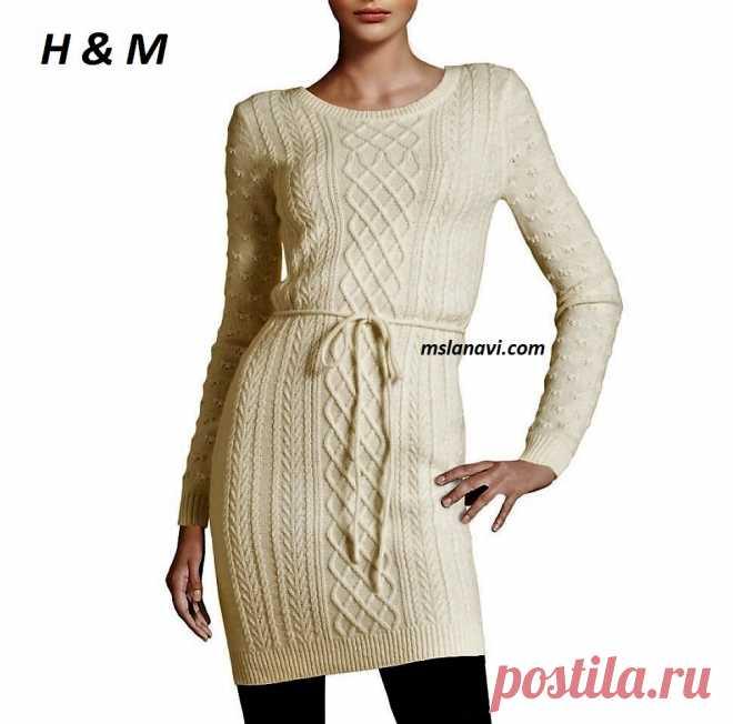 Вязаное платье спицами от H & M | Вяжем с Лана Ви