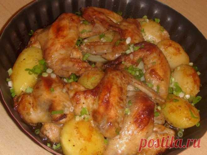 Готовим самые вкусные в мире крылышки запеченные с картошкой!