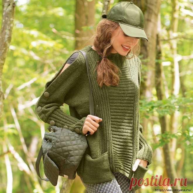 Оригинальный зеленый джемпер с застежками и вырезами, вязанный спицами!