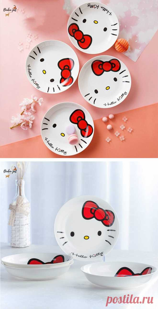 Керамическая глубокая тарелка с Hello kitty