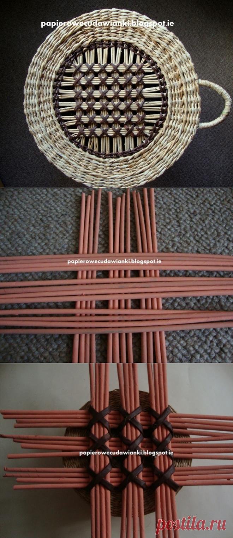 Плетение из газет. Узор для крышки круглой корзинки