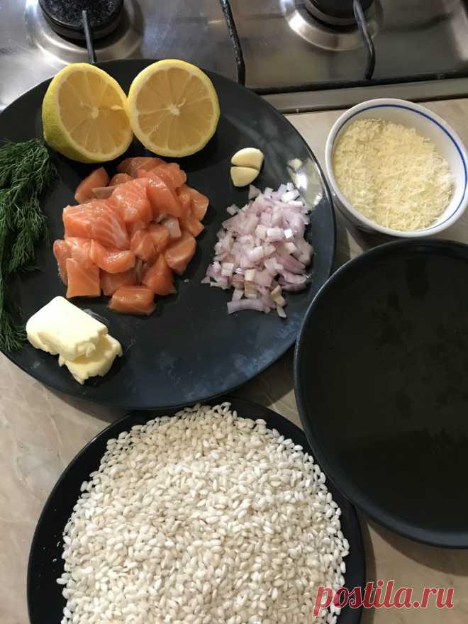 Ингредиенты для ризотто с лососем