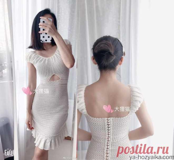 Платье крючком с открытой спинкой. Платье крючком для лета 2022