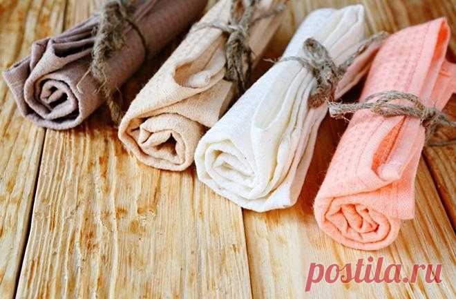 Как очистить кухонные полотенца