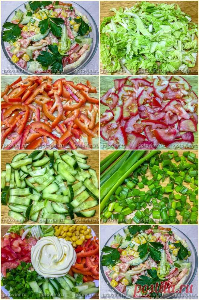 Салат из пекинской капусты, кукурузы и огурца с майонезом