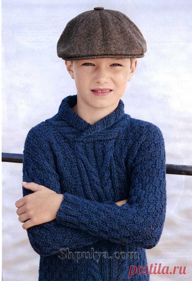 Синий пуловер с воротником-шалькой для мальчика — Shpulya.com - схемы с описанием для вязания спицами и крючком