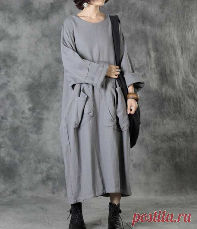Women Maxi Dresses gray dress LongSleeves dresses Long | Etsy