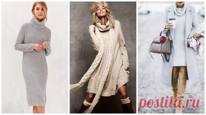 с чем носить длинное вязаное платье обувь колготки одежда