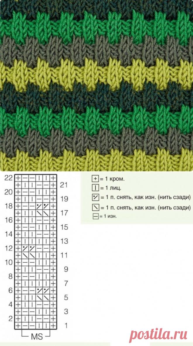 Интересный трехцветный узор из категории Интересные идеи – Вязаные идеи, идеи для вязания