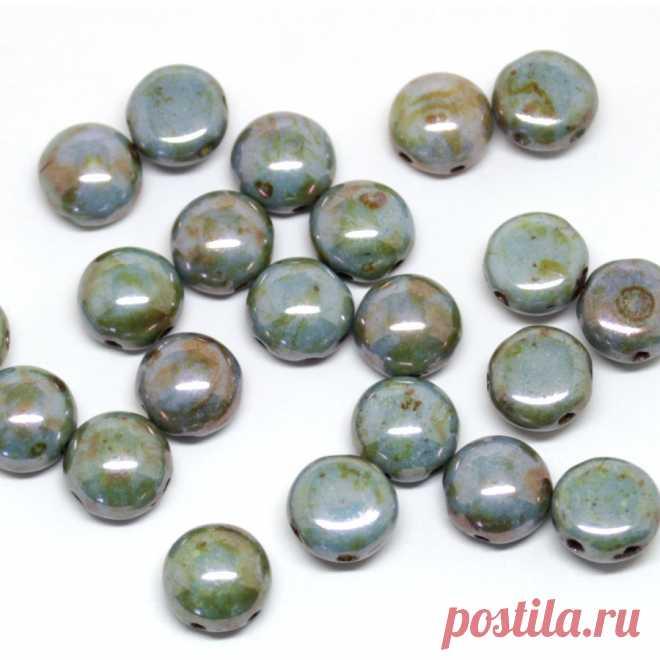 155р--22шт-Чешские бусины CANDY зеленые люстр