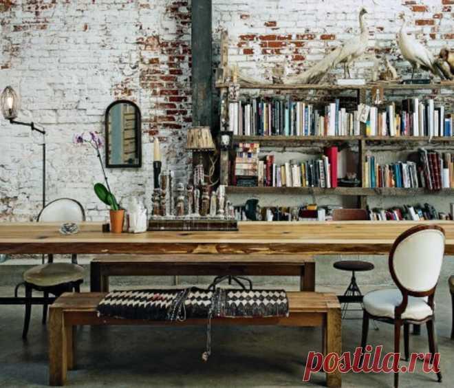 Современный гранж в интерьере квартиры. Очень красивая гармония потертых вещей и классики