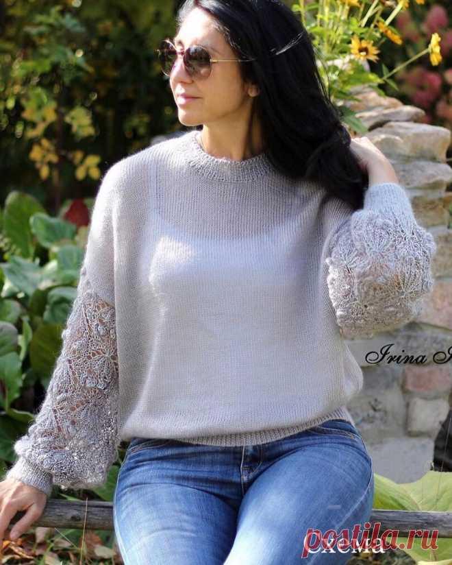 Шикарный пуловер с ажурными рукавами от Ирины https://www.instagram.com/irina_hleb68/
