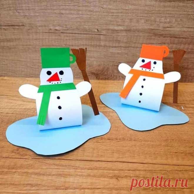 Объёмный снеговик из бумаги