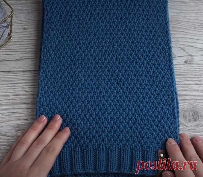 Как связать шарф спицами для мальчика